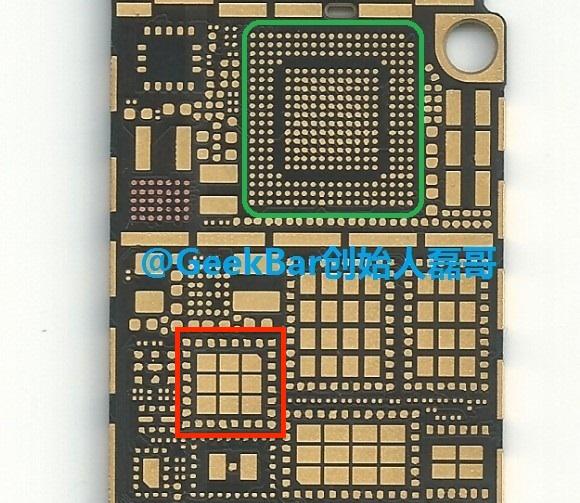 чип Nfc в материнской плате смартфона (красный квадрат)